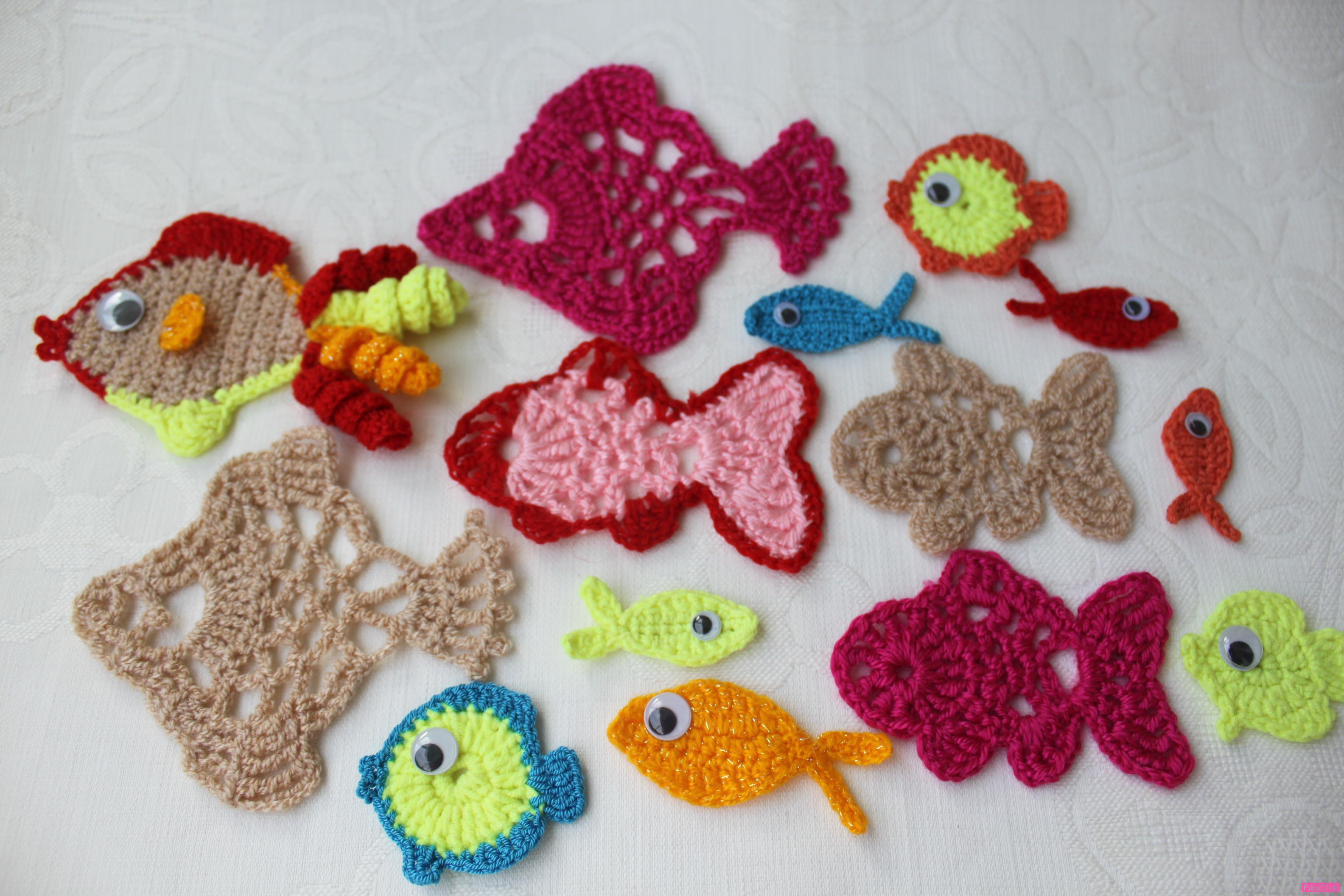 Вязание крючком рыбки 56