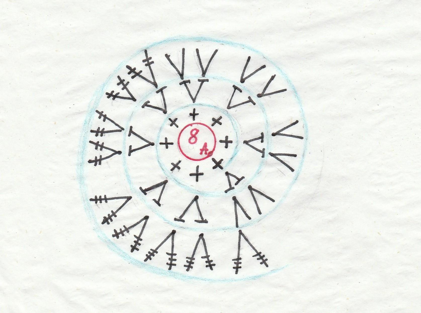 Вязание ракушки по кругу крючком 65