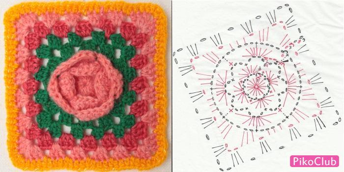 Вязание квадрата в середине цветок